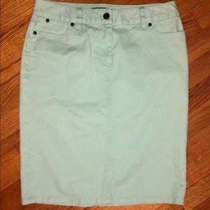 Talbots Denim Mint Green Pencil Skirt